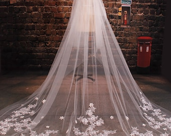Luxury wedding veil Cathedral veilBridal veill off white veil  lace veil two tiers veil with comb ivory veil in handmade 3.5meter