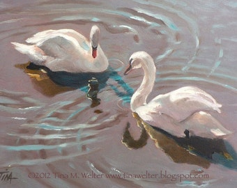 Swans, Art oil painting PRINT Tina Welter,5x7 romance print,white swans,duet,love,romance,swimming swans,lavender and white,relationship