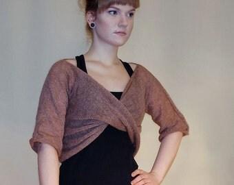 Yoga shrug Knit Bolero Cropped Sweater  silk mohair soft half sleeves twisted  yoga sweater bolero