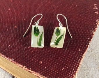 Resin Earrings - Small Rectangular Earrings - Earthy, Natural, Garden Earrings - Garden Weddings - Green Flower Earring, Bridesmaid Earrings