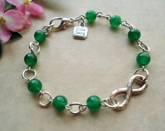 Infinity Bracelet. Green Jade Gemstone.metal plated in sterling silver.Valentine.Mother's.Bridal.Birthday.Graduation.Love.Beadwork, Handmade