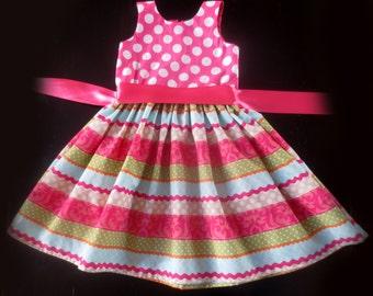 Easter Dress, Spring Dress, Striped Dress, Polka Dot Dress, Party Dress, New Years Eve Dress. Holiday Dress.