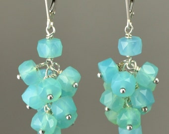 Faceted blue chalcedony cluster earrings.