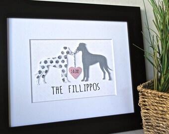 CUSTOM DOG Art, Unique Wedding Gift, Personalized Wedding Gift, Gift for Dog Lover, Dog Lover Gift, Great Dane Art, Gift for Couple