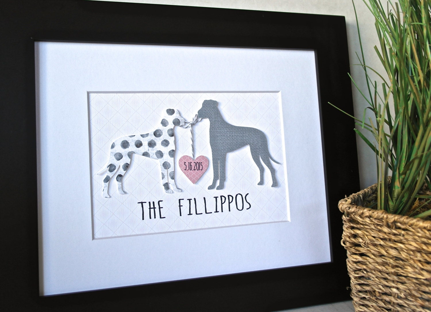 Personalized Wedding Gift Painting : 3D CUSTOM DOG Art Unique Wedding Gift Personalized Wedding