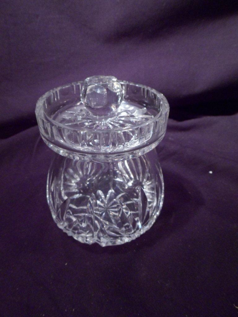 Honey condiment bowl irish signed cut crystal lidded for Cava cristal