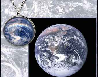 Earth Necklace/sterling silver chain with descriptive high quality photo gift card.