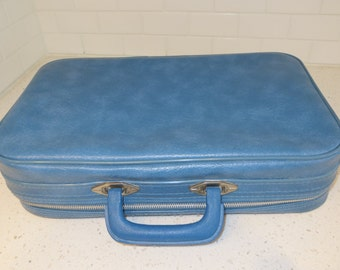 Vintage Sears Small Luggage Blue Bag - Laptop Case Briefcase