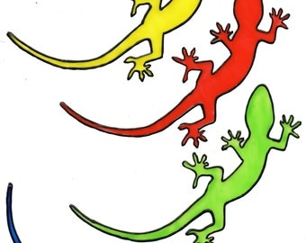 Hand-painted window color window image WiCo colourful salamander (060)
