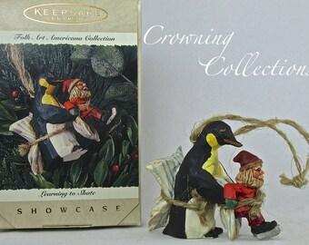 1995 Hallmark Learning to Skate Ornament Folk Art Americana Penguin Showcase Collection Keepsake
