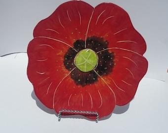 Ceramic poppy flower shaped plate or platter red hand made
