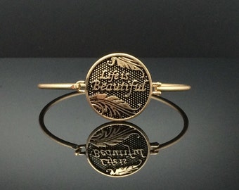 "Beautiful Words ""Life is Beautiful"" Antique Gold Bangle Bracelet, Antique Gold-Tone Bangle Bracelet – 25026AGT"