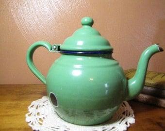 Large Vintage Green Enamelware Teapot