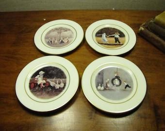 Set of Four (4) Small Vintage Decorative Plates - Simple Pleasures