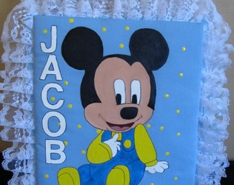 Baby Mickey Handmade  Personalized Fabric Covered Photo Album