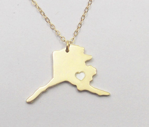alaska state necklace goldak state charm by initialnecklaces