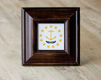 "Just marked down 15.00 OFF ~ RI ""Hope"" State Flag, Handpainted Frame, Wood Frame, Brown, Mahogany Color, Rhode Island, Hope, Little Rhody,"