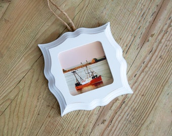 Mini~joules Framed Photograph, Pleasant Bay Fishing Boat, Photograph, Beach, Cape Cod, Chatham, New England, Antiqued, Mini Photo Frame