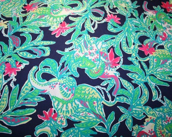"Lilly Pulitzer fabric ~Bright Navy TRUNK SHOW~Elephant~ 18"" by 18""~ 100% cotton twill"