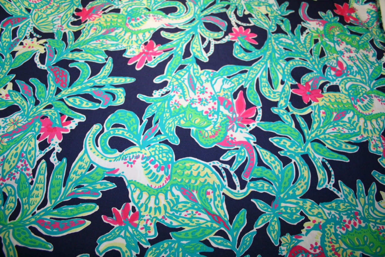 Lilly Pulitzer Fabric Lilly Pulitzer Fabric Bright Navy Trunk Showelephant