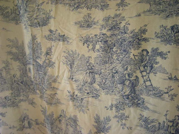 French Toile De Jouy Door Curtain Blue Vintage Curtains