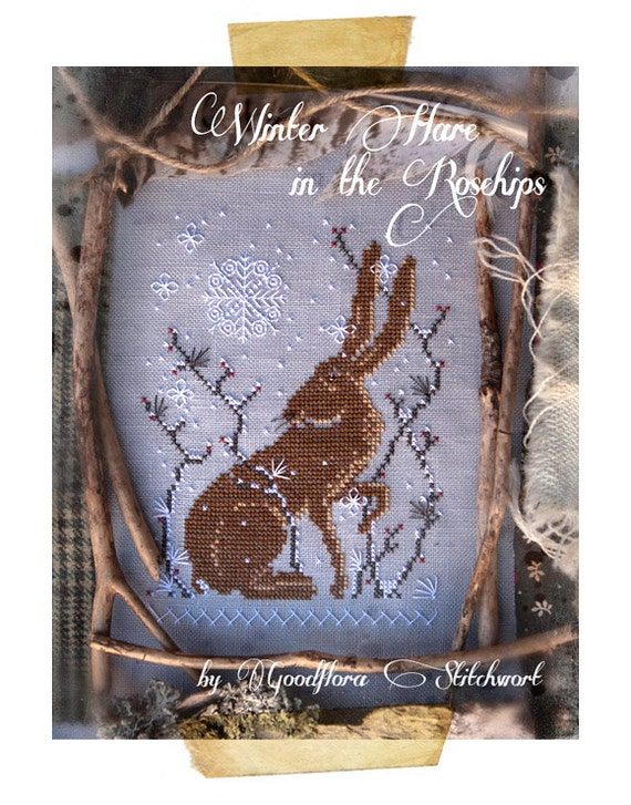 Cross Stitch Pattern ~ Winter Hare in the Rosehips ~ Instant PDF Download!