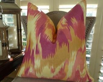 Magenta Pillow Cover - Designer Decorative Throw Pillow - Magenta Orange Cream Ikat Accent Pillow - Magenta Zig Zag Ikat Pillow - 11365