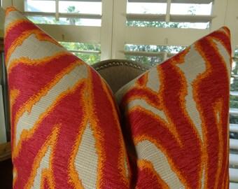 SALE Fuchsia Pillow Cover - Fuchsia Orange Taupe Throw Pillow - Zebra Accent Pillow - Fuchsia Throw Pillow - Decorative Throw Pillow - 11061