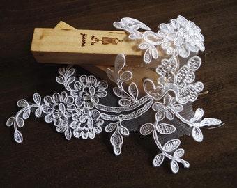 white lace applique, cord lace applique, ivory lace headpiece, bridal headpiece, alencon lace applique