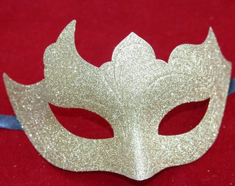 Gold Glittery Sparkling Gothic Style Masquerade Mask