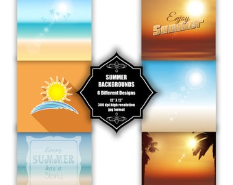 INSTANT DOWNLOAD - Collection of digital summer backgrounds with 6 different designs