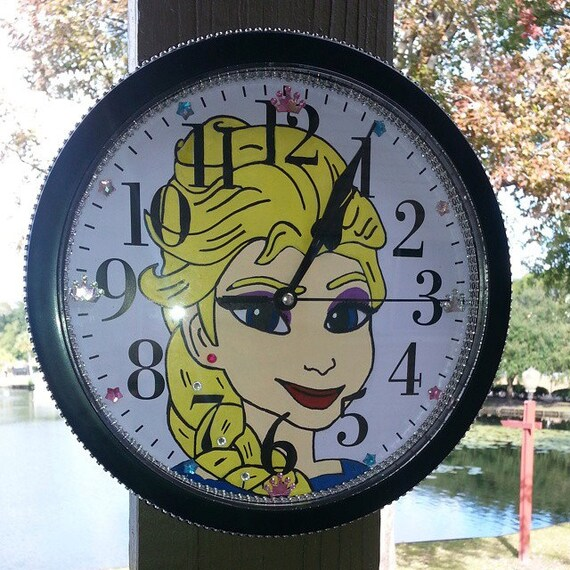 "Frozen Elsa 9.68"" Hand Painted Hand Drawn Wall Clock"
