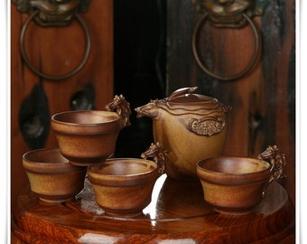 Handmade Pottery Teapot and Tea Cups, Chinese Ceramic Tea Set