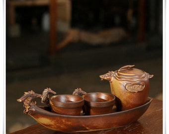 Handmade Pottery Tea Cups Set, Beautiful Design China Tea Set,Perfect Gift for Friends