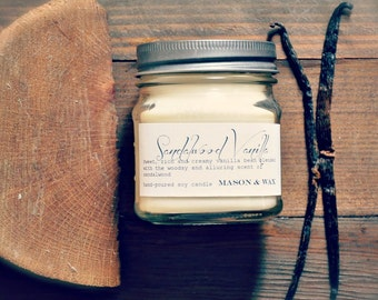 Sandalwood Vanilla Mason Jar Soy Candle