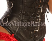 Gothic Metal boned corset Goat leather made Black Antique brown rusty Steampunk