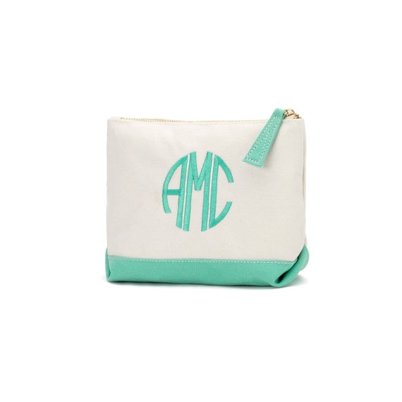 Monogrammed Makeup Bag, Canvas Zipper Pouch, Mint Green Makeup Bag, Personalized Gifts, Bridesmaids Gifts, Mothers Day, Graduation Gifts