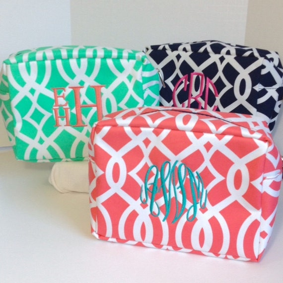 Set of Nine Monogrammed Makeup Bags, Set of 9 Personalized Cosmetic Bags, Makeup Pouches, Bridesmaids Gifts, Bridal Shower Gifts
