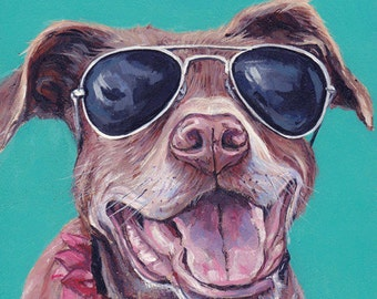 Dog Portrait, dog painting, custom pet painting, dog pop art, acrylic on a wooden canvas, 8x10 by Letitia's Art