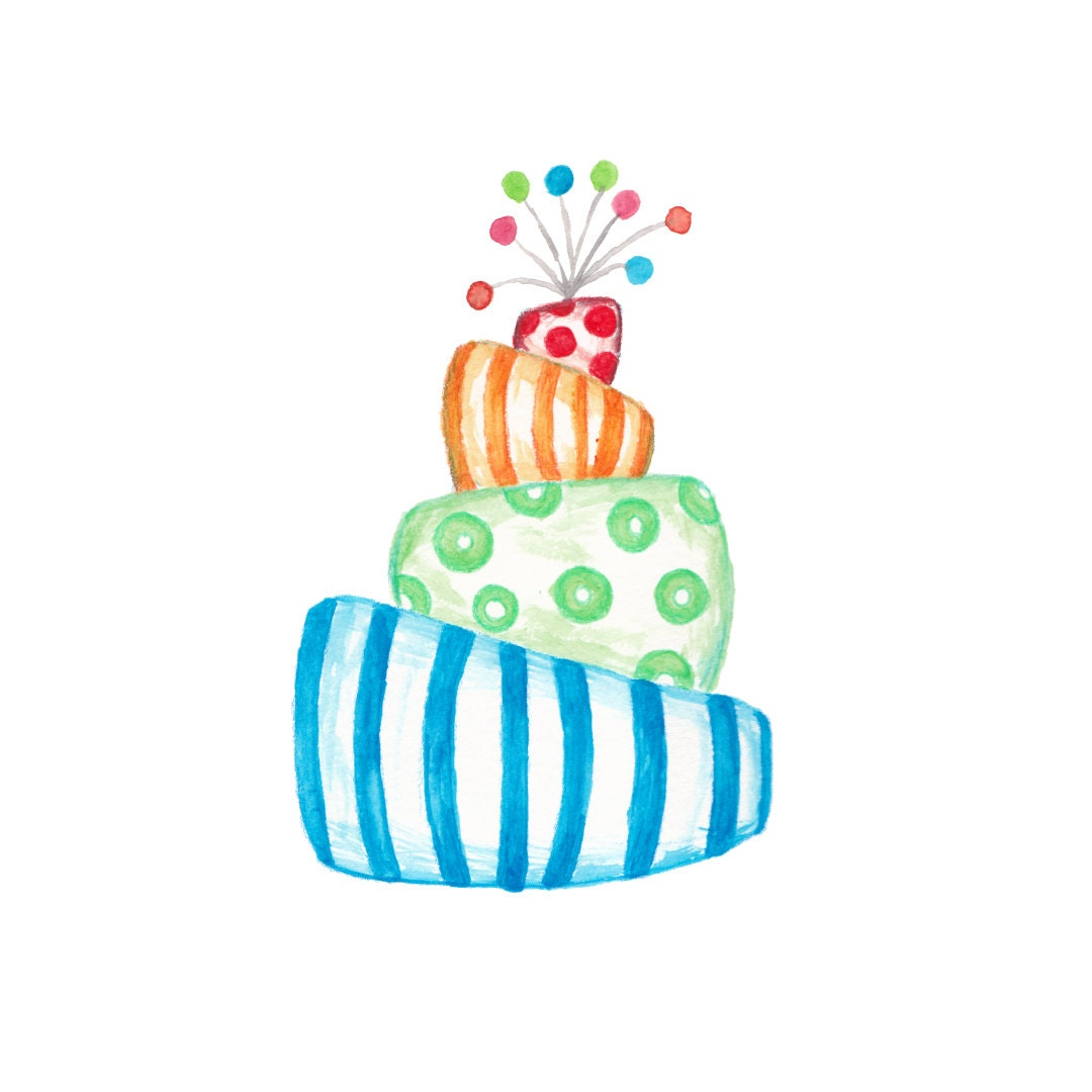 Watercolor Cake Clip Art : Colorful Watercolor Cake Clipart