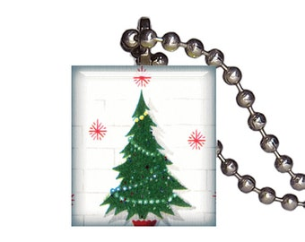 Vintage Christmas Tree Happy Holidays - Reclaimed Scrabble Tile Pendant Necklace