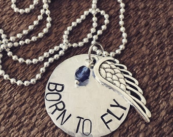 Born to Fly Custom Hand Stamped Necklace