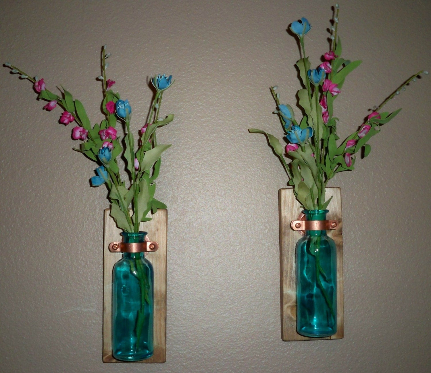 Colored Glass Wall Decor : Colored glass bottle rustic wall decor kitchen