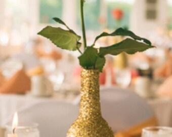 Glitter wine bottles/rose vase/ table decoration