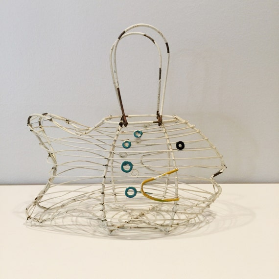Rare vintage fish shaped wire basket with handles by for Fish wire basket