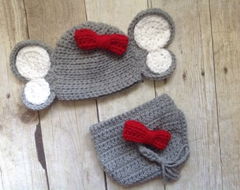 Newborn elephant hat and diaper cover, baby elephant hat, crochet elephant hat, photo prop, newborn girl coming home outfit, newborn hat