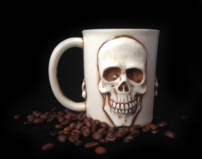 Handmade Coffee Mug Skull Coffee Mug Sculpted By