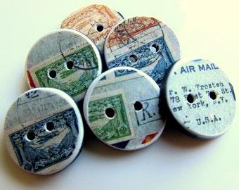 """Par Avion 3/4"""" handmade buttons"""