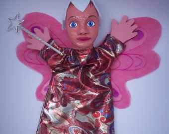 Pink Fairy glove puppet, with flower cap, wings and wand