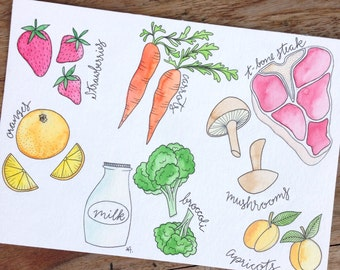 Food vegetables, 17 x 24 cm, original drawing with ink and watercolour, coloured